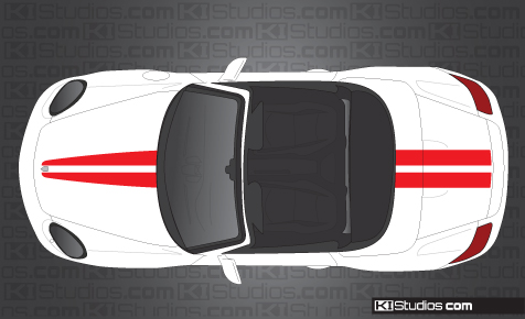 Porsche Boxster Side checker Stripe Decals