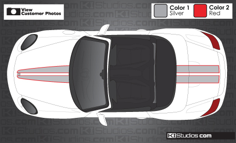 Porsche Boxster checker flag stripe kit decal