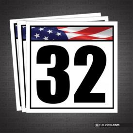 American Flag Reusable Racing Numbers