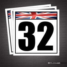 British Flag Reusable Racing Numbers
